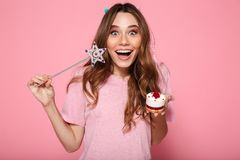 Close-up photo of happy brunette girl dressed like princess hold Stock Photography