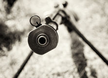 Close up photo of heavy sniper rifle from World War II, black an Stock Photography