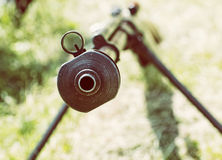 Close up photo of heavy sniper rifle from World War II, retro ph Stock Photography