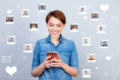 Close up photo interested curious she her lady telephone share got sms lover repost follow modern website illustration vector illustration