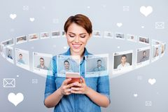 Close up photo interested curious she her lady telephone share got sms repost pick choose choice circle round royalty free illustration