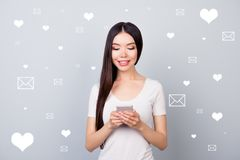 Close up photo korean japanese reader she her lady blogger crowd user comment post telephone global trend share repost. Like heart dating site futuristic stock illustration