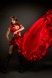 Close-up photo of the lady in gypsy costume dancing flamenco Stock Image