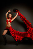 Lady in gypsy costume dancing flamenco  on a gray background Royalty Free Stock Photo