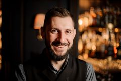 Close-up photo of male bartender with beard in bar royalty free stock photos