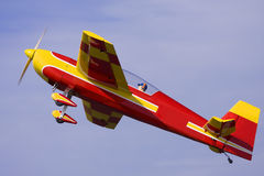 A close up photo of a model. A close up photo of an R/C model airplane pulling out of a steep dive Royalty Free Stock Photos