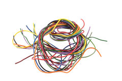 Close up photo of multicoloured wire on a white background Stock Image