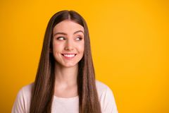 Close up photo of nice pretty teen teenager look have thoughts choice decisions curious have plan minded wear. Close up photo of nice pretty teen teenager look stock photo