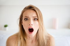 Free Close Up Photo Of Attractive Beautiful Lady With Her Wide Starin Stock Image - 143246021