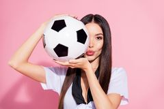 Close Up Photo Of Beautiful Lady Head School Committee Soccer Ball Hands Hiding Half Face Coquette Wear White Top Royalty Free Stock Photo