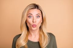 Free Close Up Photo Of Pretty Cute Attractive Nice Girl Kissing You With Green Astonishment On Face Isolated Beige Pastel Royalty Free Stock Photography - 162045587