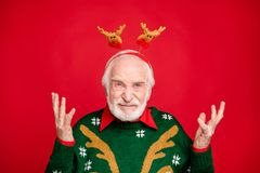 Free Close Up Photo Of Santa Man With Pretty Horns On Head Not Satisfied With Decoration Have Bad Newyear Mood Wear X-mas Royalty Free Stock Photos - 160285368