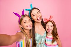 Free Close Up Photo Of Three People With Blonde Brunette Long Hair Make Selfie Grimace Wearing Headbands Skirt Dress Isolated Royalty Free Stock Images - 165898949