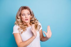 Close up photo oh no her she lady awful awkward situation look side empty space ugh facial expression hands arms up air. Wear casual white t-shirt jeans denim royalty free stock images