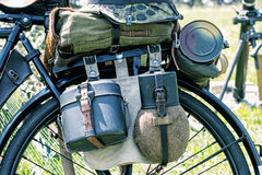 Close up photo of old military bicycle with equipment Royalty Free Stock Photography