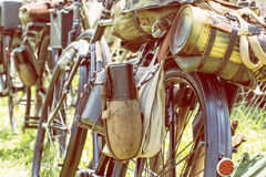 Close up photo of old military bicycle with kitbag and equipment Royalty Free Stock Image