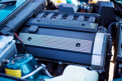 Close-up photo of old motor with intake manifold Stock Image