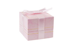 Close-up photo of pink gift box over white Stock Photo