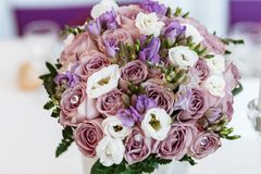 Close-up Photo of Pink and White Faux Rose Bouquet royalty free stock photo