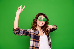 Close up photo portrait of glad positive nice carefree careless stock images