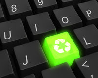 Green Technology Key. Close up photo-real illustration of a black computer keyboard with a glowing green recycle key Stock Photography