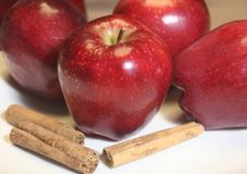 Apples and Cinnamon royalty free stock photography