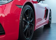 17 June, 2018. Suzhou city, China. Close-up photo of red Porsche 718 Boxter GTS at motorshow royalty free stock photography
