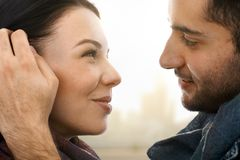Close-up photo of romantic couple Royalty Free Stock Photo