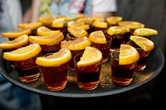 Shots rum with a lemon Royalty Free Stock Photos