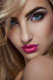 Close up photo of sensual blonde woman Stock Images