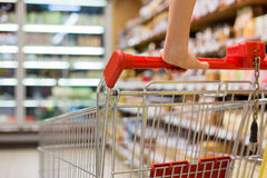 Close-up photo of shopping cart in supermarket Stock Photo