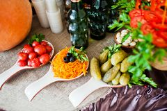 Close-up photo of sour and salty snacks on the wedding banquet a Stock Images