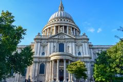 St Paul& x27;s Cathedral Facade Close-Up. Close-up photo of St Paul& x27;s Cathedral Facade on a sunny day in September 2018 stock image
