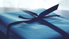 Close-up Photo of Tied Blue Box royalty free stock image