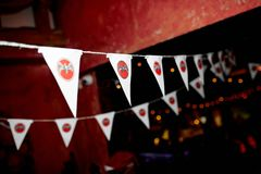 Triangle flags of  `BACARDI` Stock Photography