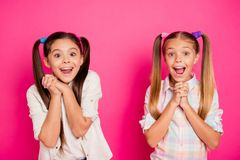 Free Close Up Photo Two Little Age Girls Fingers Crossed Yell Scream Shout Low Cheap Prices School Applies Stuff Wearing Royalty Free Stock Photo - 139277655