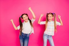 Free Close Up Photo Two Little Age Girls Holiday Dancing Glad Hands Up Children Festive Mood Win Boys Video Game Wearing Stock Photos - 139277963