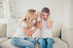 Close up photo two people mom teen daughter hands arms head not listen mum lecture eyes closed terrible noise pain wear royalty free stock photo