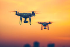 Close up photo of two Professional Remote Control Air Drones Stock Images