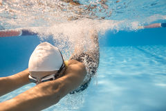Close-up photo of underwater swimmer Royalty Free Stock Photo