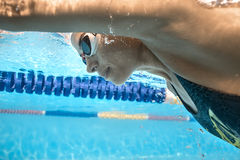 Close-up photo of underwater swimmer Royalty Free Stock Photos