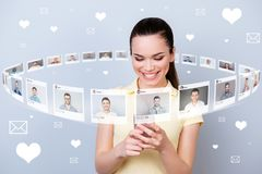Close up photo user persone she her lady telephone share repost like click letters page many friends illustration royalty free illustration