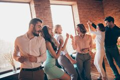 Close up photo valentine day love lovers best friends hang out dancing rest relax birthday sing singer songs she her. Ladies he him his guys wear dress shirts royalty free stock images