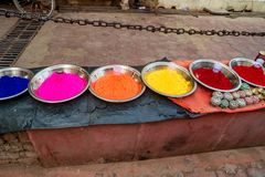 Close-up photo of variety Indian paint powders. Indian pigments for bindi painting close up Royalty Free Stock Photography