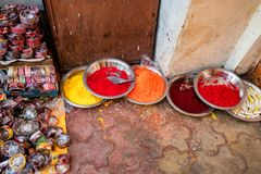 Close-up photo of variety Indian paint powders. Indian pigments for bindi painting close up Royalty Free Stock Photo