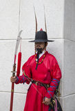 Close up photo of wall keeper in traditional Joseon dynasty uniform guard. Seoul, South Korea - Sep 26, 2016: Close up photo of wall keeper in traditional Joseon stock image