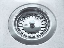 Close up photo of water drain, sink drain on white background stock photo