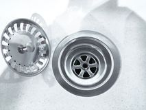 Close up photo of water drain, sink drain on white background royalty free stock image