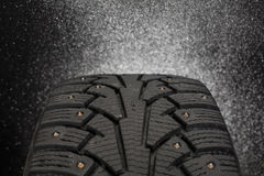 Close up photo of winter tire in Finland. Royalty Free Stock Images