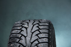 Close up photo of winter tire in Finland. Royalty Free Stock Photos